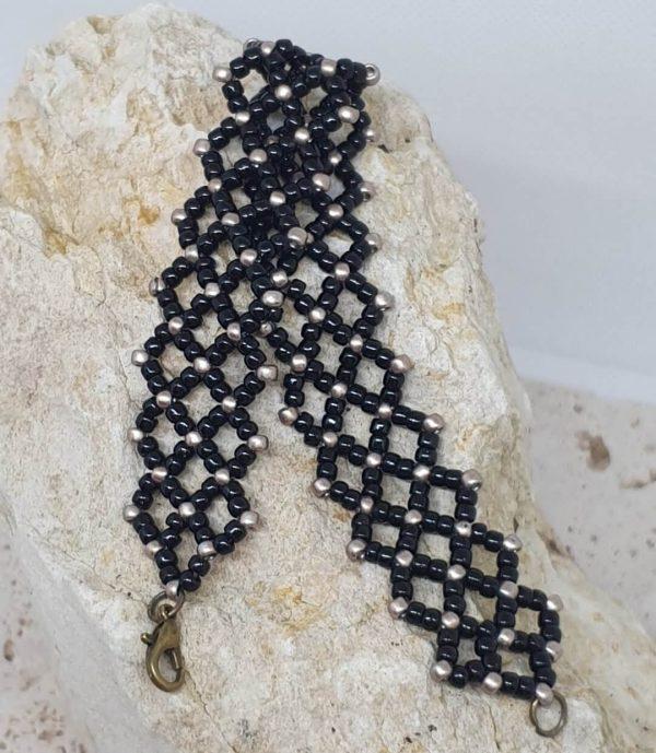 Bracelet en perle de rocailles noir et bronze